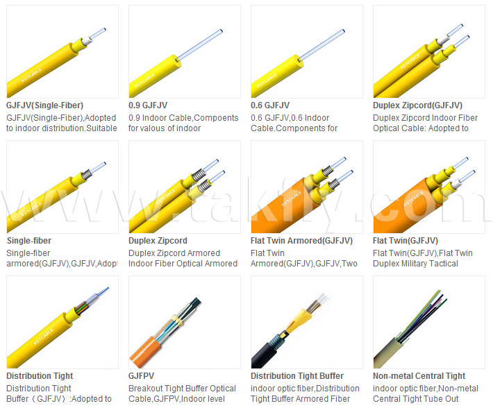 Indoor Fiber Optic Cable 0.9mm Tight Buffer Cable (GJFJV)