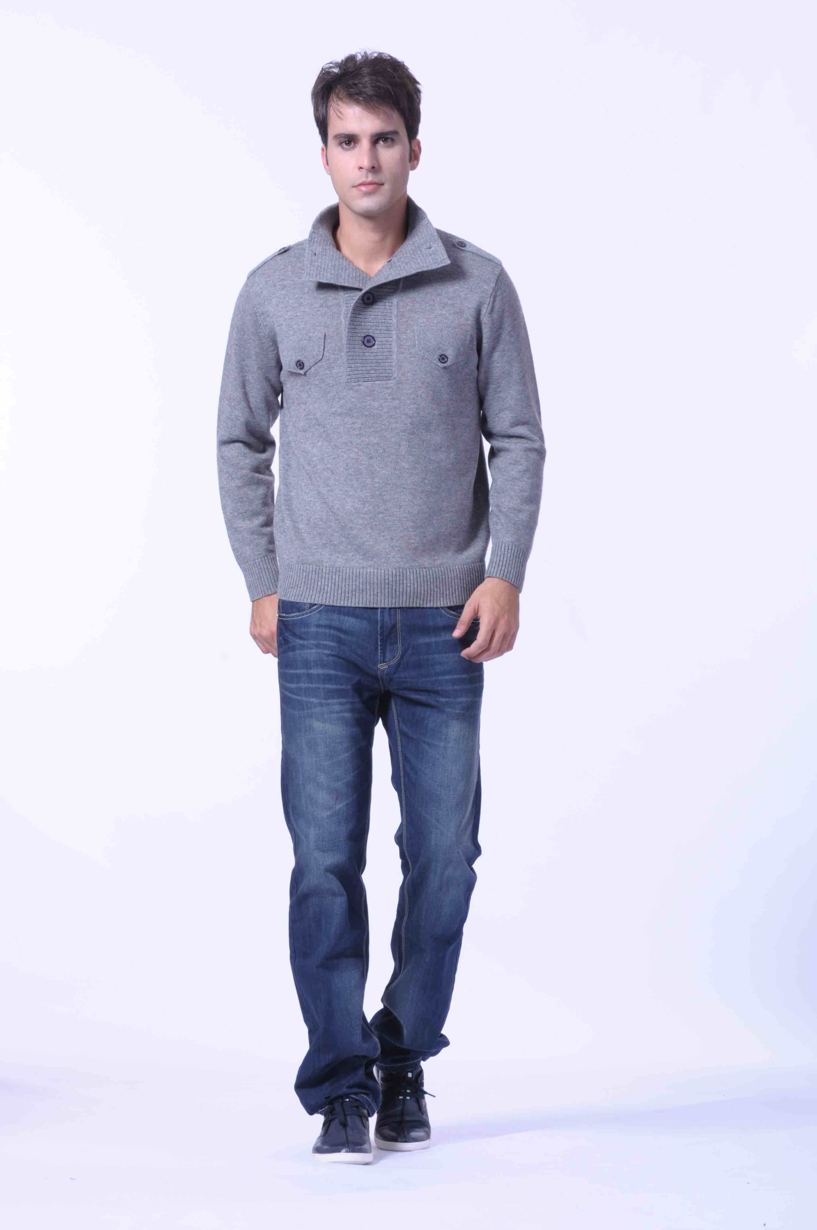 100%Yakwool /Cashmere Knitted Pullover Open Collar Sweaters/Wool Swearters/Clothing/Textile