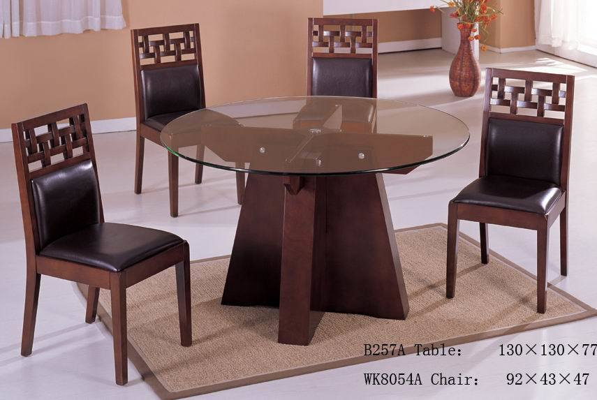 China round glass dining table set china dining room for Round glass dining table set