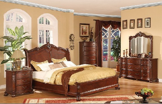 full solid wood home bedroom furniture set bed night stand chest