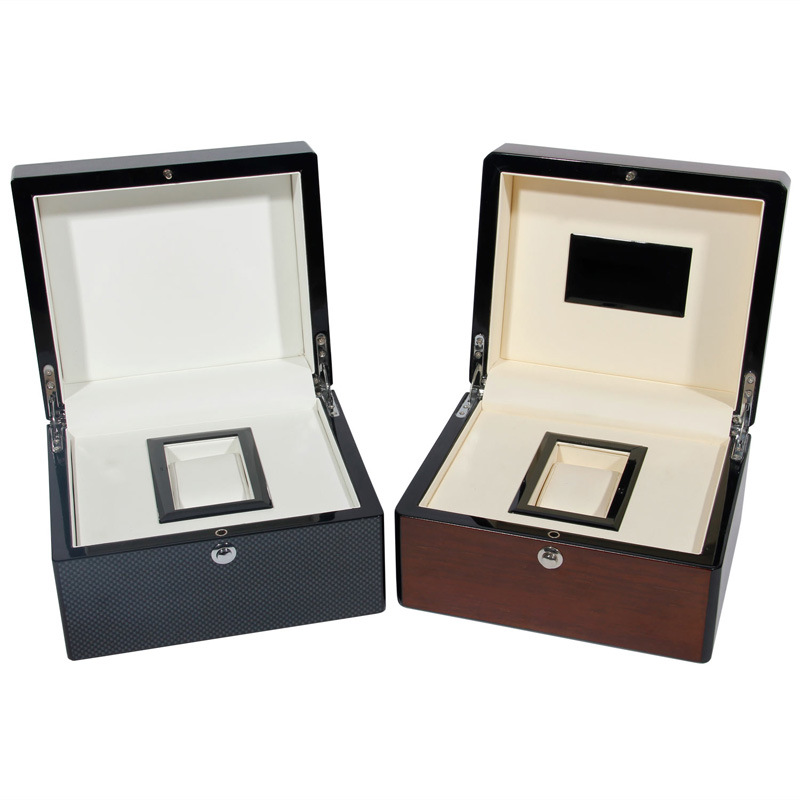 High Gloss Black and Brown Wooden Watch Box