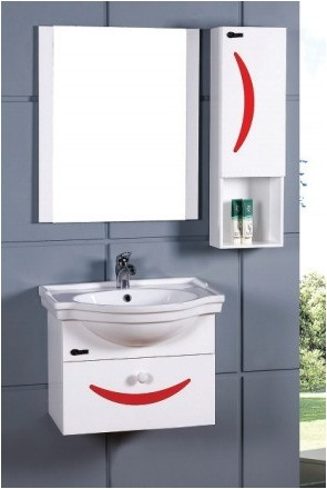China Wall Mounted Modern Type Pvc Bathroom Cabinet Bl
