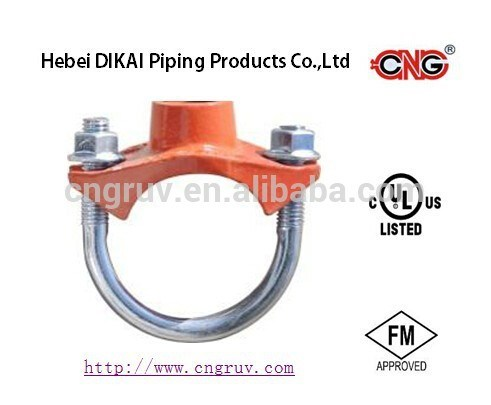 FM /UL Approved U-Bolt Mechanical Tee Ductile Iron Pipe Fitting Female Threaded