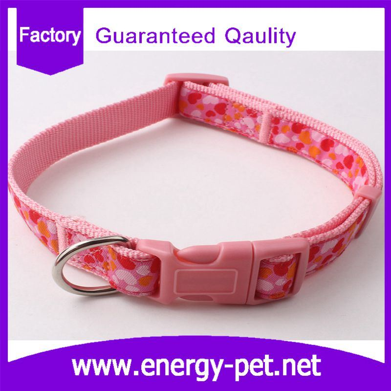 Heart Pattern Printing Adjustable Pet Supplier Dog Collar