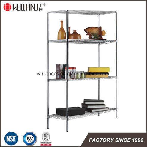Hot Sale Us Household Adjustable 4 Tiers Chrome Metal Book Rack /Book Case