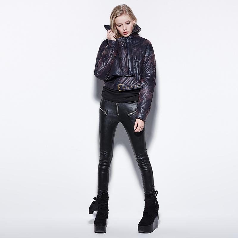 Pk-045 Punk New Winter Fleece Plus Thick Velvet Long Leisure PU Pants