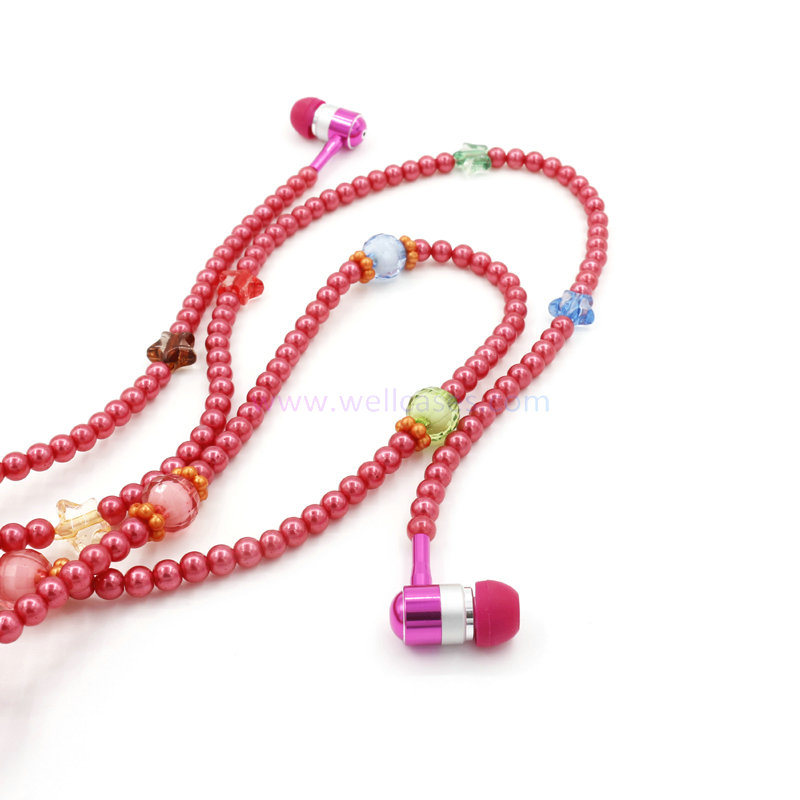 New Arrival 3.5mm Fashion Pearl Wired Mobile Phone Earphone for Cell Phone / MP3