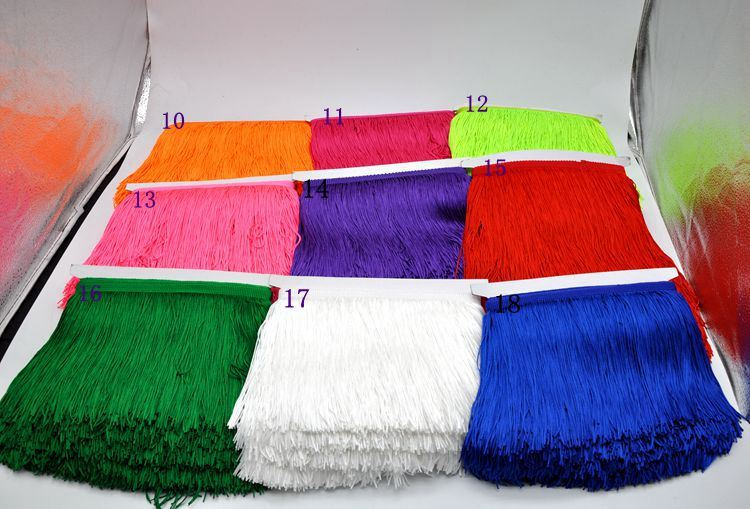 Wholesale 15cm Polyester High Quality Thickness Fringe for Dancing Dress