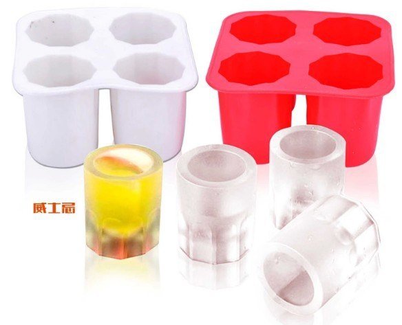 Food Grade Four Cells Bullen Head Silicone Ice Mold Glass Ice Trays