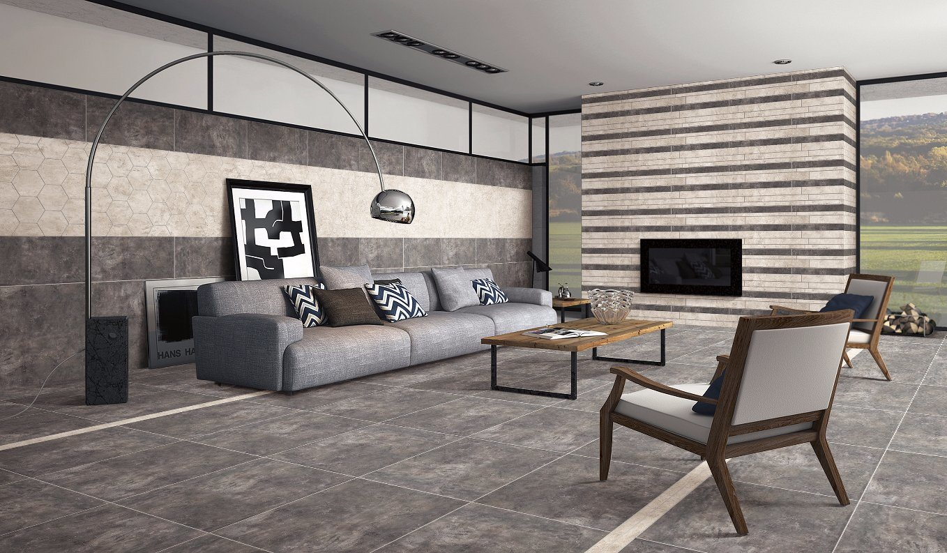 Interior Tiles Usage and Rustic Tiles Feature Cement Design Floor Tile