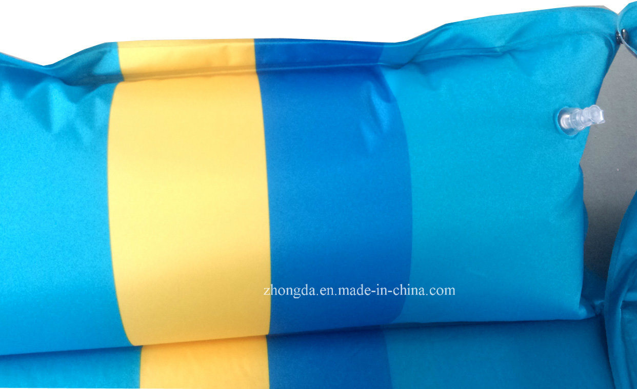 Double 75D Polyester Pongee Camping Mat with Air Pillows for Two or Three People
