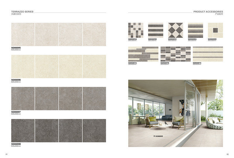 Terrazzo Series-Waterstone/Matte Finished/Rustic Tile Antique Brick Porcelain Floor Tile