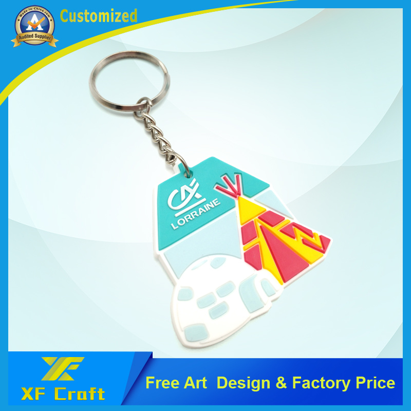 Cheap Customized 2D/3D PVC Rubber Key Chain with Any Logo Design (XF-KC-P28)