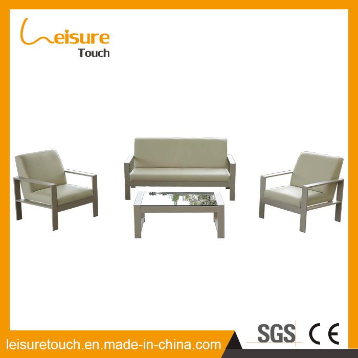 China Made Metal Outdoor Garden Patio Furniture Brushed Poly Wood Wiredrawing Aluminum Cloth Art Sofa Set