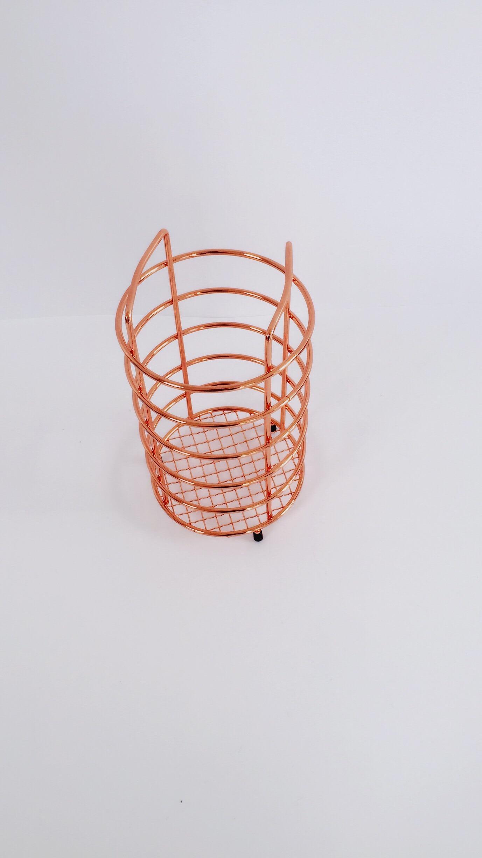 Gold Colour Chromed Metal Wire Utensil Holder