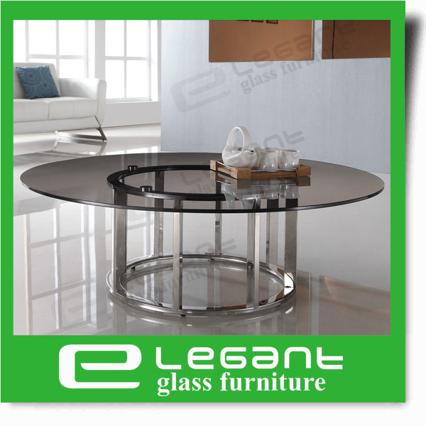 Modern Style Crystal Tempered Round Glass Coffee Table Set with Black Mat Painted Iron Base