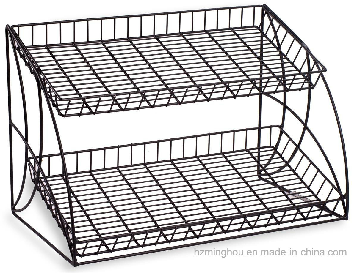 Tabletop Retail Store Metal 3-Tiered Snake Wire Shelving Display Rack