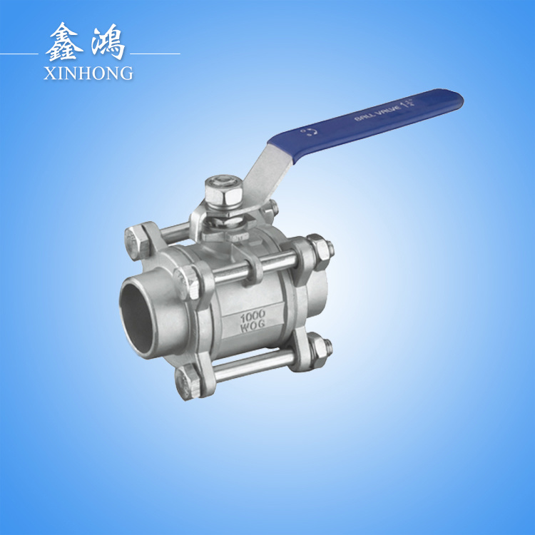 304 Stainless Steel 3PC Welded Ball Valve Dn15