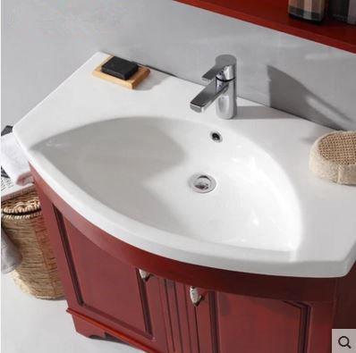 Soild Wood Bathroom Oak Cabinet Simple European Ceramic Basin