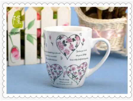 Porcelain Coffee Mug Cup 12oz Fine Full Flower Decal Porcelain Mug