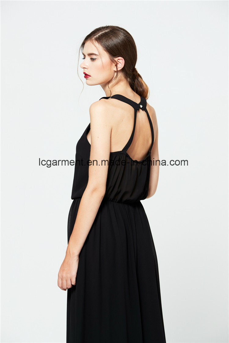 Best Price Customized Soft Chiffon Elegant Black Sexy Summer Dress