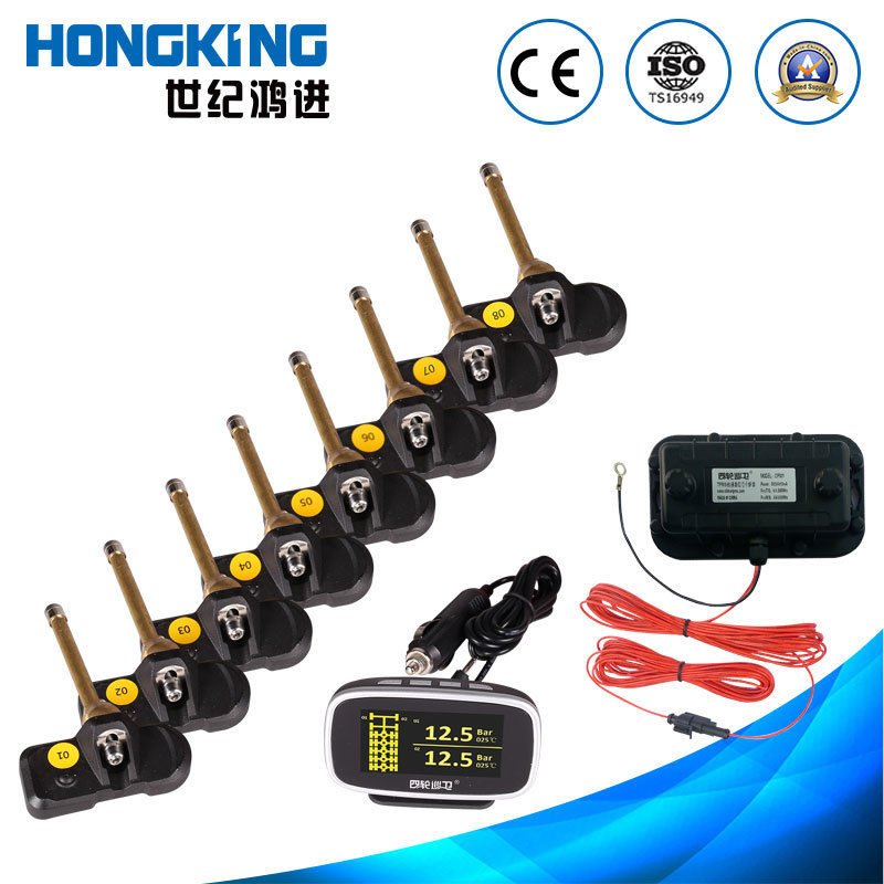 OLED Display 2 to 24 Multi Tires Truck Bus TPMS with Internal Tire Sensor and Repeater for Large Vehicles, Lorry, Autotruck, Caravan, Wagon