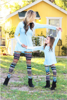 Four Sizes Printed Mommy and Me Leggings