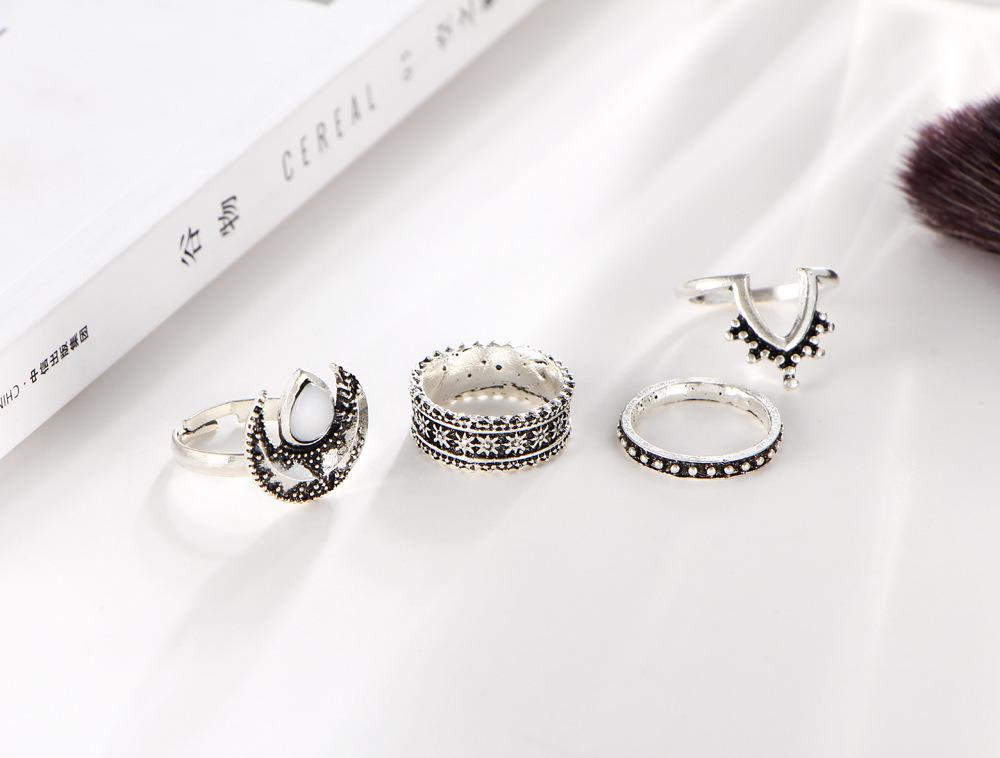 Imitation Jewelry Metal Ethnic MIDI Finger Opal Knuckle Ring Set De Anillos