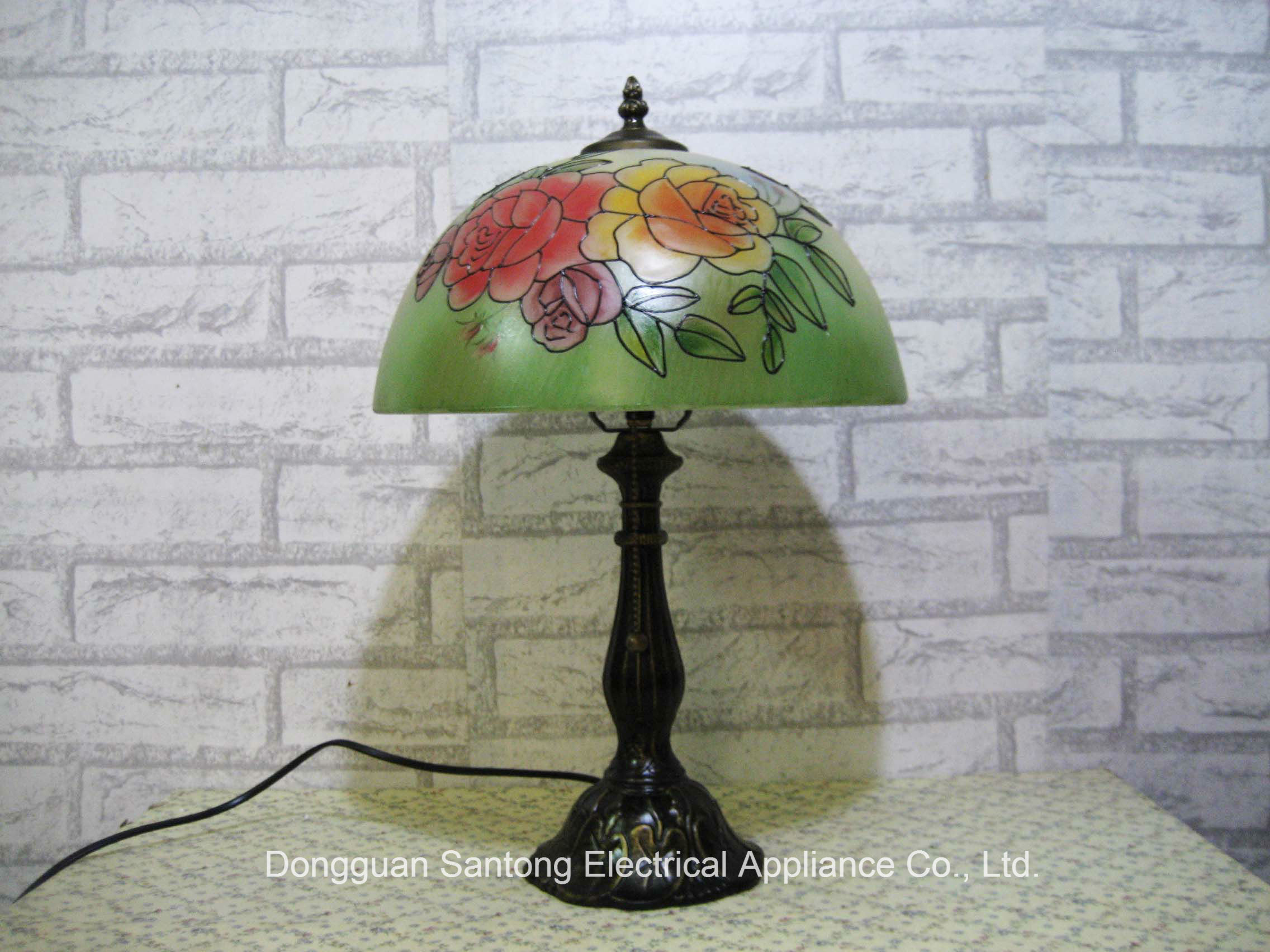 Rose Design Modern Tiffany Table Lamps with Glass Shades