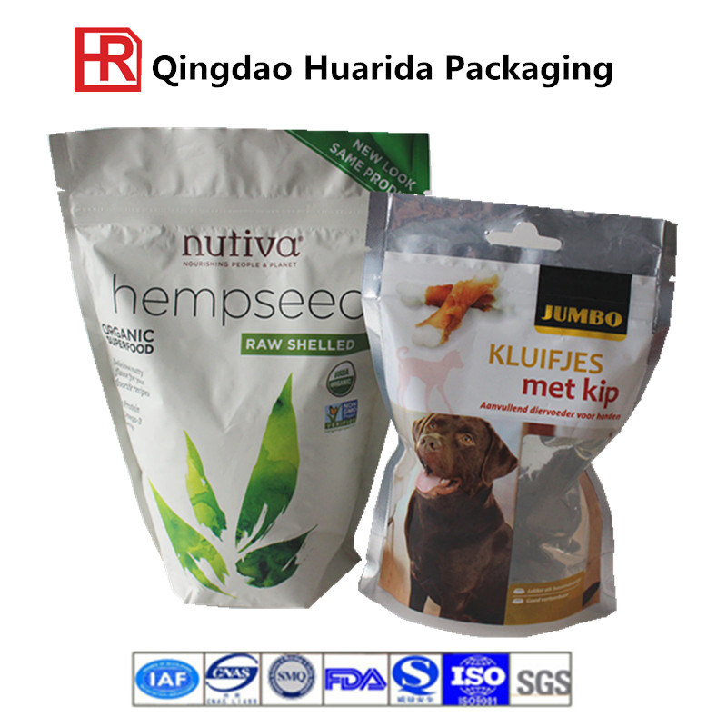 Flexible Pet Stand up Plastic Packaging Food Bag with Zipper