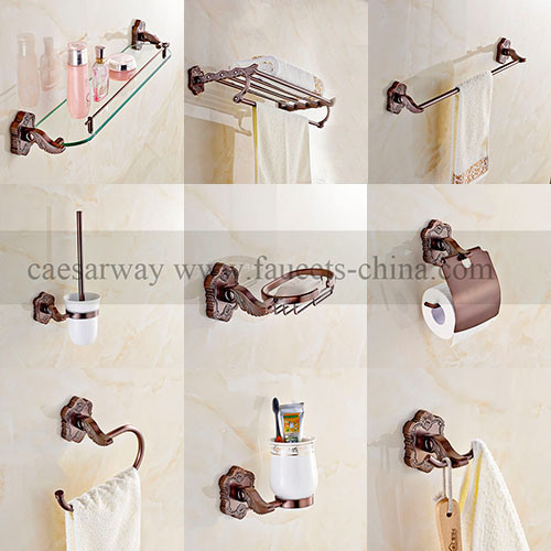 Wall Mounted Rose Golden Bathroom Accessories