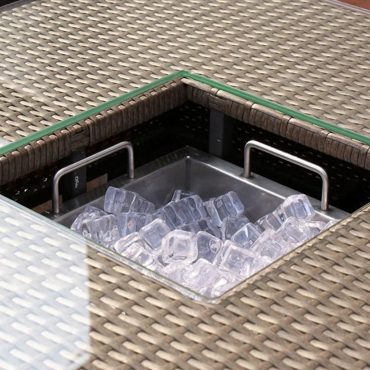 100% Aluminium Frame Ice Bucket Coner Rattan Sofa Sets