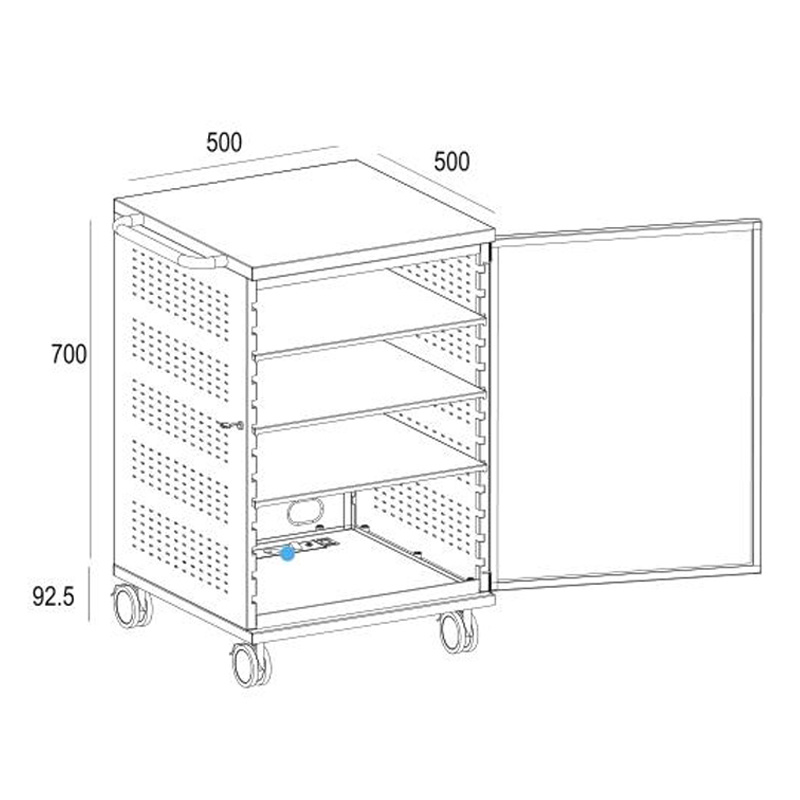 a/V Mobile Media Cart Lockable 3-Shelves Power Rail (MB 004)