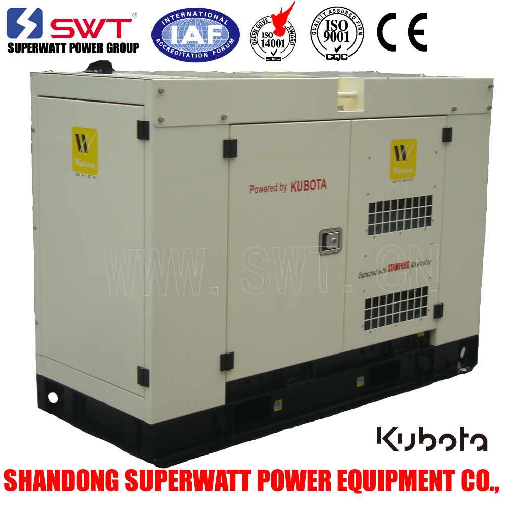 Super Silent Type Generator Set by Kubota Power 8.8kVA-40kVA