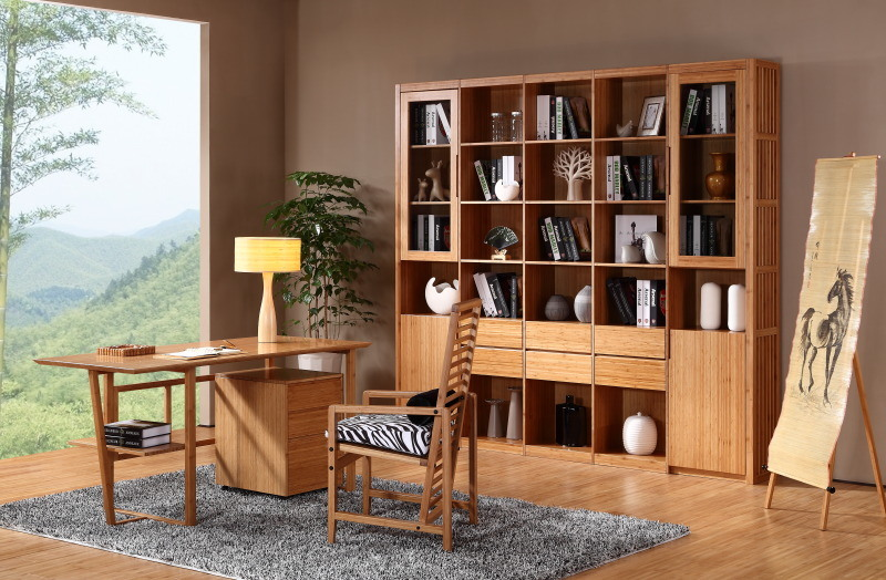 Modern Design Natural Bamboo Book Cabinet for Home Furniture