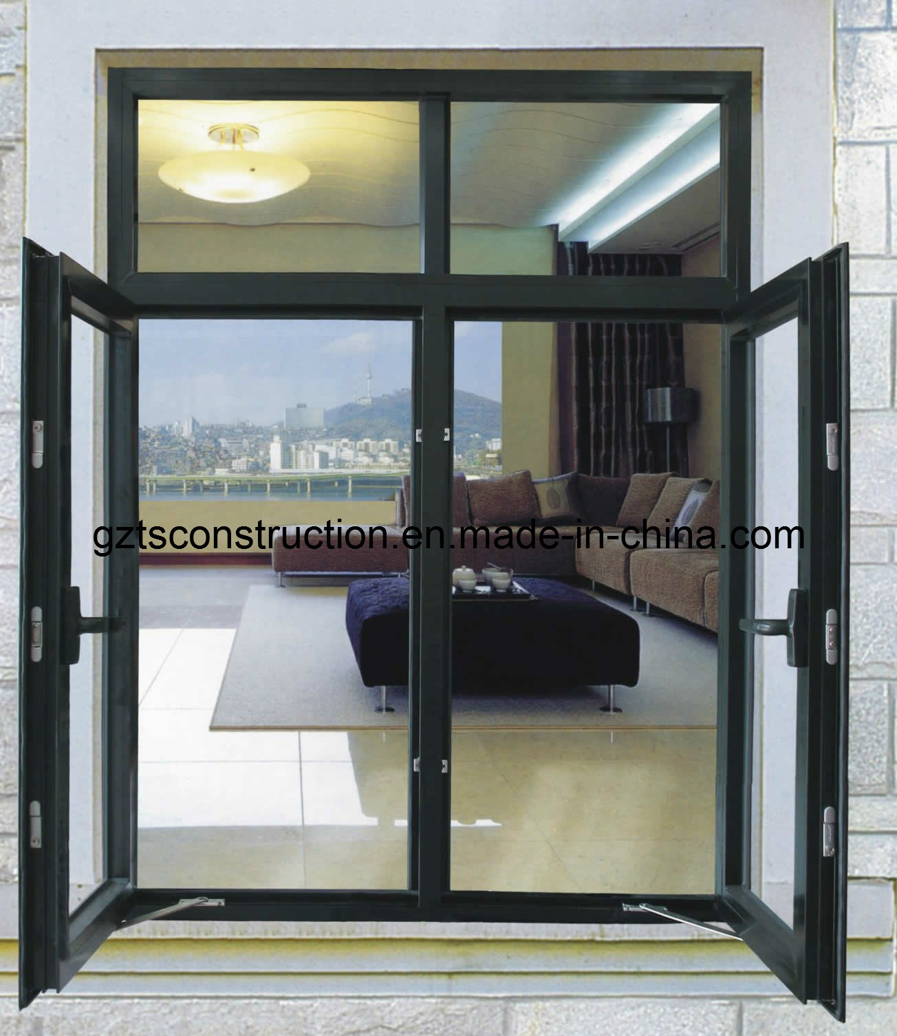 Customzied Double Glazing Aluminium Casement Window with Roller Shutter