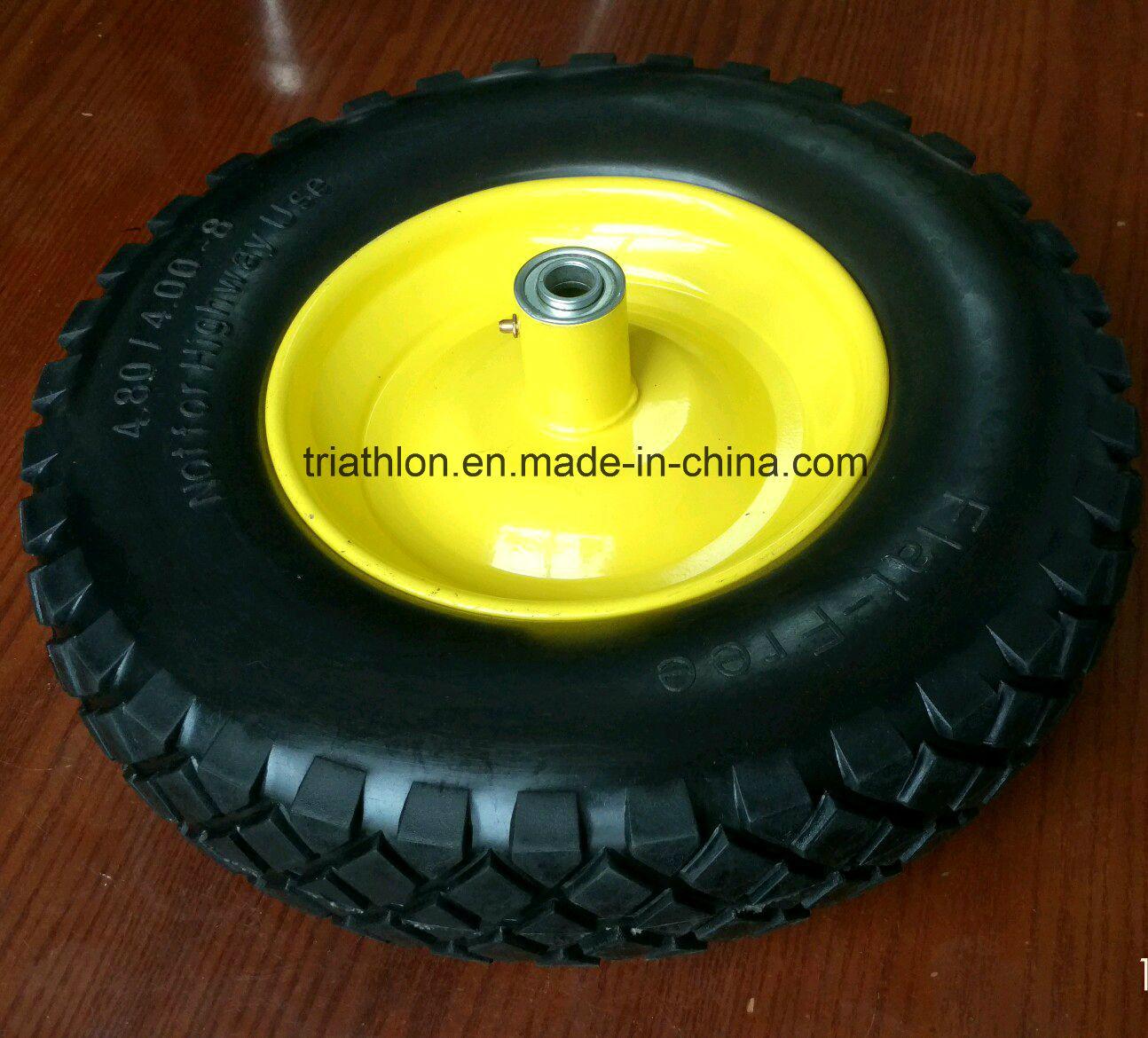 16X4.00-8 Square Tread Flat Free Wheelbarrow Tire with Steel Rim
