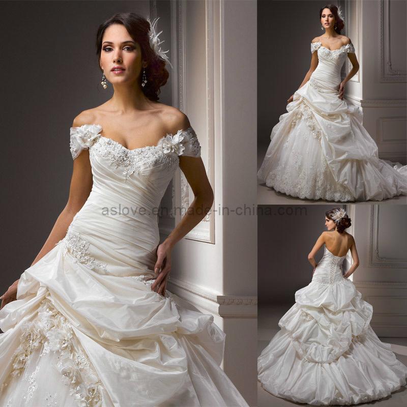 China taffeta lace detachable sleeve ball wedding dress for Wedding dress detachable sleeves