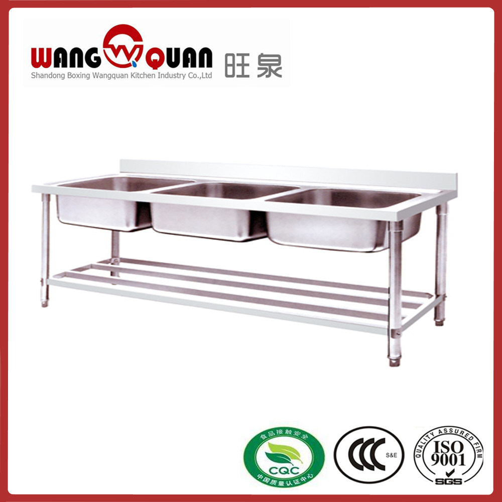 Factory Stainless Steel Sink Table with Undershelf and 3 Compartment
