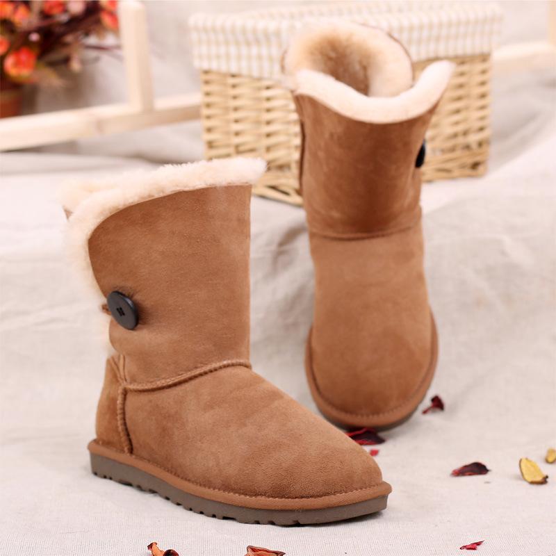 Classic Sheepskin Winter Women Boots with Single Button Chestnut