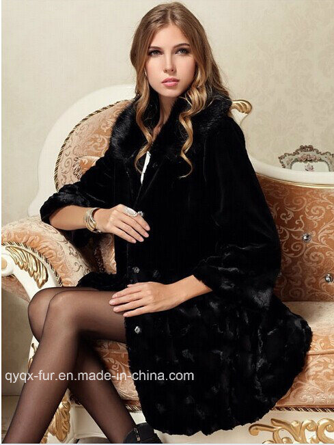 Dq1089 2014 Desigual Female Autumn Winter Coats Women Long Black Jacket Faux Fur Luxury 3D Picture Printed Outdoor Clothes
