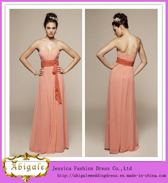 China Chiffon Sweetheart a-Line Sleeveless Peach Color Bridesmaid ...