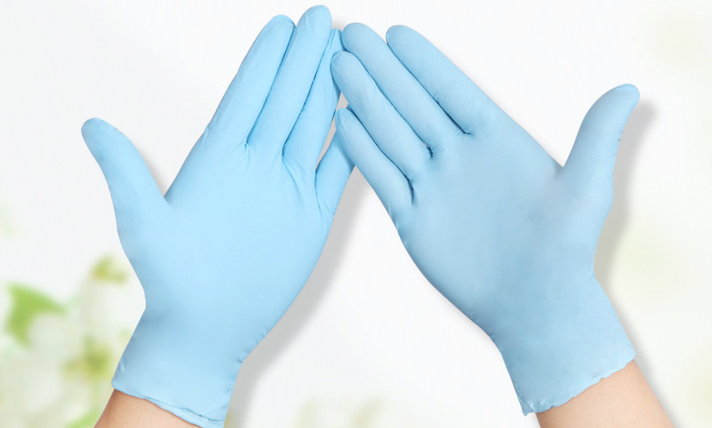 Competitive Price Blue Color Powdered Vinyl Gloves for Electronics Industry