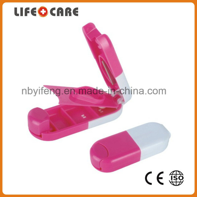 Plastic Pillbox Cutter with Keychain for Promotion