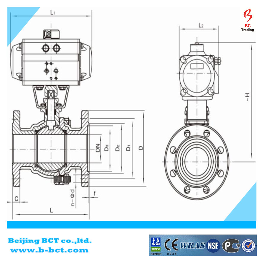 Stainless Steel Ball Valve with Double Acting Pneumatic Bct-Dpbv-1