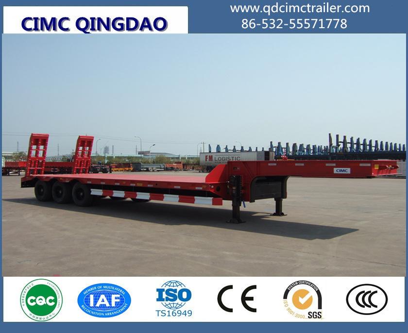 Cimc 3 Fuwa Axles 80 Tons Flat Lowbed Semi Truck Trailer