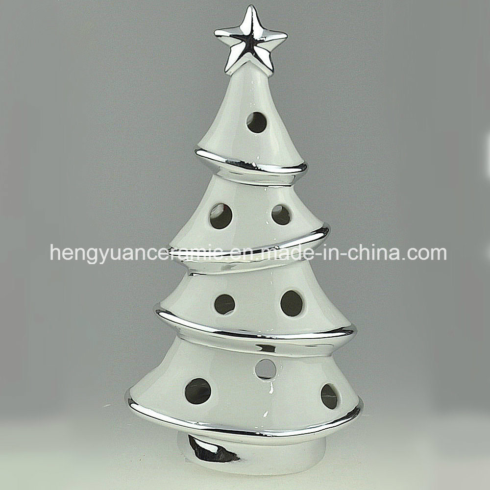 China Spot Goods Ion Plating Christmas Tree Shaped Candle Holders Ceramic China Tree Candle