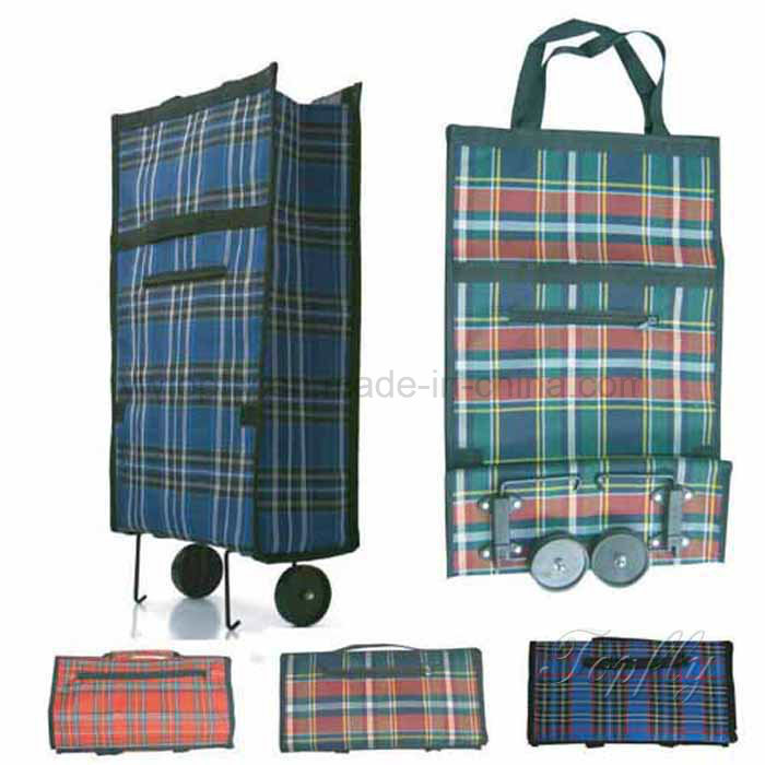 Folding Shopping Bag with Wheels Suit for Advertisement Promotional Giveaway