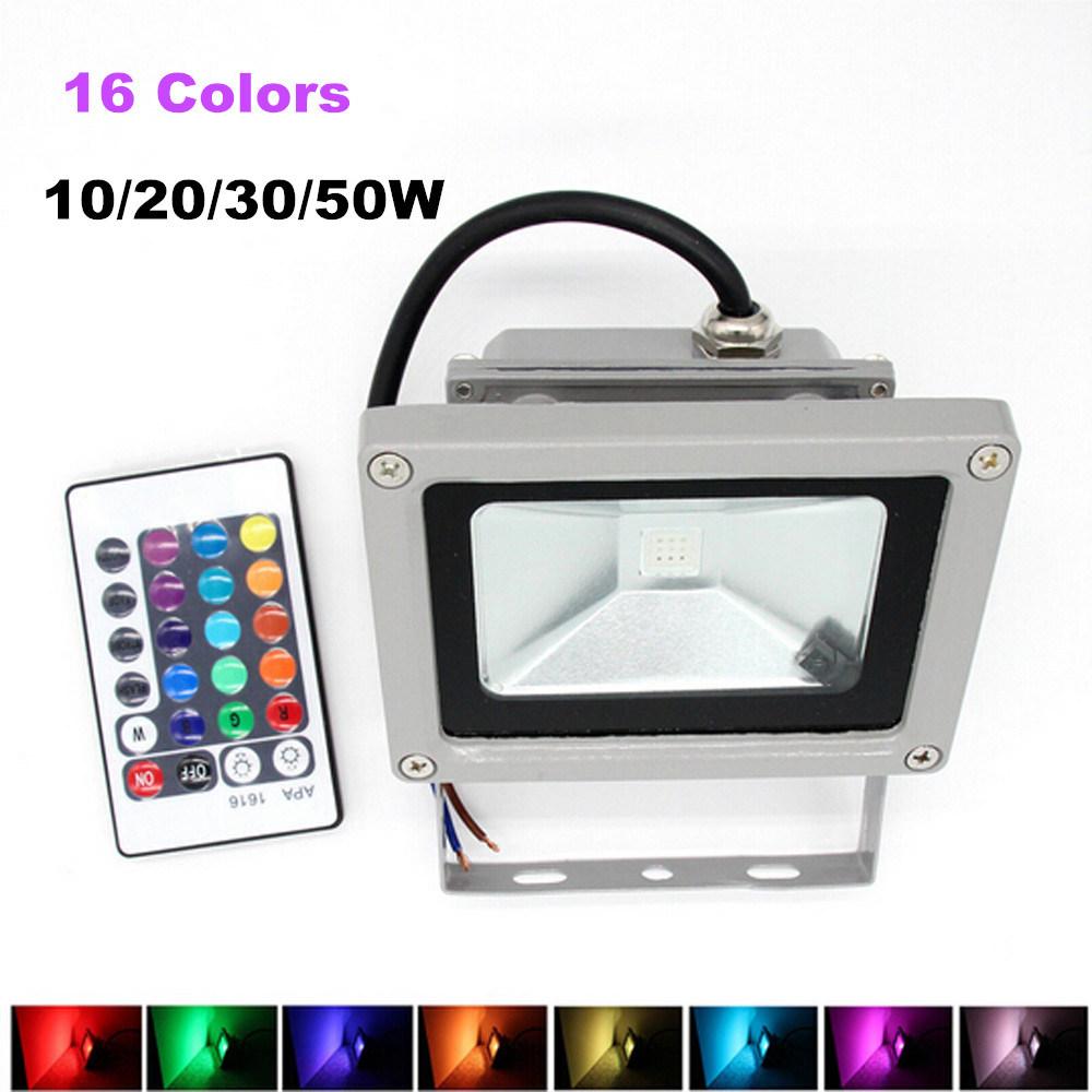 16 LED 9 Mode Remote Control Outdoor RGB 10W Spotlight
