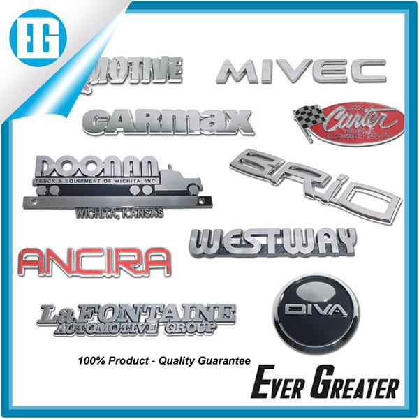 Custom Red Chrome Metal Car Names and Logo Badge